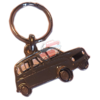 Keychain Renault R4 4L motif in profile. Grey color.