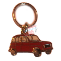 Keychain Renault R4 4L motif in profile. Red color.