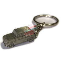 Miniature Renault R4 4L Keychain in pewter. TL, no plastic bands on the doors.