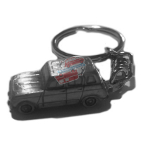 Miniature Renault R4 4L Keychain in pewter. GTL, Clan with plastic bands on the sides.