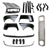 Pack 4 wings/fenders, bonnet for Renault R4 4L, chromed bumpers, gray grille mesh, bumper and fittings. Bonnet for models with license plate riveted on it.