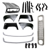 Pack 4 wings/fenders, bonnet for Renault R4 4L, painted bumpers, gray grille mesh, bumper and fittings. Bonnet for models with license plate riveted on it.