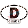"""Renault R4 4L sticker, width 14cm, country Germany """"D""""."""